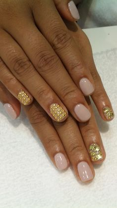 Nails with gold studs