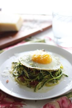 Zucchini Pasta Carbonara -- Healthy, easy and every bit as flavorful as the full-fat version.