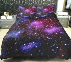 Anlye Cotton Galaxy Bedding Sets Purple Star Duvet Cover Cotton Purple Sheet Milky Way Comforter Cover Full *** More info could be found at the image url.