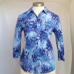 Karen Scott Beautiful Karen Scott petite 100% cotton in excellent condition no rips or stains three-quarter sleeve Karen Scott Tops