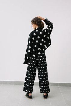 Polka Ikat Kimono – kimkastudio Dot Dot, Ikat Fabric, Hand Weaving, Dark Blue, Kimono, Jumpsuit, Cotton, Fashion, Overalls