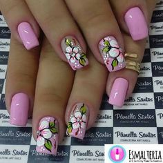 Try some of these designs and give your nails a quick makeover, gallery of unique nail art designs for any season. The best images and creative ideas for your nails. Flower Nail Designs, Flower Nail Art, Toe Nail Designs, Art Flowers, Cute Nail Art, Beautiful Nail Art, Spring Nail Art, Spring Nails, Spring Art
