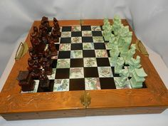 Vintage Soapstone Asian Emperor's Court Chess Set with Inlaid Board $75 circa 1973 located 7/2017