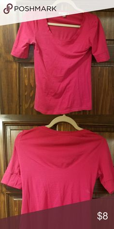Hot pink 3/4 sleeve V-neck, 3/4 sleeve fitted hot pink shirt. Tops Blouses