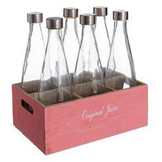 Complementos cuquis hoy de #oferta! #home #hogar #estilo #deco #decoración http://hogaresconestilo.com/producto/caja-6-botellas-rosa-madera-cristal-3150-x-21-x-12-cm/