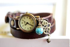 Woman Wrap Watch bronze wrist watch roman numerals by RafFinesse