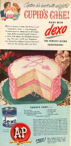 A&P DEXO CUPID'S CAKE VALENTINE FEBRUARY 1949