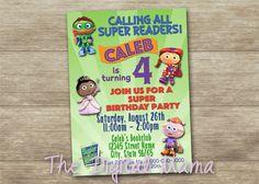 Super Why Birthday Party Invitation - Super Why Invitation - Reading Party Invitation - Super Why Book Club - Personalized Digital Download by TheDigitalMama on Etsy