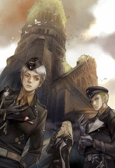 Gilbert and Ludwig during WWII, with Germania in the background. Again, a controversial subject matter, but a rather fitting interpretation of the historical reality. - Art by 炎鈴 on Pixiv, found via Zerochan