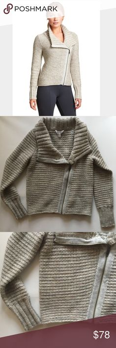 Athleta sweater jacket - size small. Athleta sweater jacket - size small. Asymmetric zipper. Collar can be worn high or folded down. Looks cute open as well. Comfortable and warm. Perfect condition. Note: lighting is dark (overcast skies for days)! Athleta Sweaters