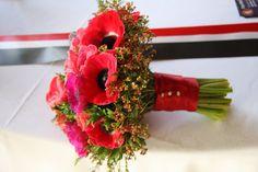 Anemone Bridal Bouquet in Hot Pink & Red - Flowers Wedding Valentines