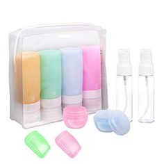 Travel Bottles, TSA Approved Silicone Travel Size Containers Leak Proof Toiletries Travel Accessories Refillable Cosmetic Containers Set with Toiletry Bag for Shampoo Lotion Conditioner 10 Pack #travel #travelbottles #travelcontainers #traveltubesets