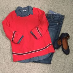 Lucky Brand Embroidered Sweatshirt This embroidered sweatshirt from Lucky Brand is the boldest shade or red! It's the softest blend of cotton and polyester with a slight boat neck with 3/4 sleeves. Navy, black and white embroidery trims the sleeves and hem. Denim shirt is not included. In excellent condition with no holes, stains or tears. Worn once or twice. Please ask questions before purchase as all sales are final. Lucky Brand Tops Sweatshirts & Hoodies
