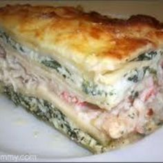 This Seafood Lasagna has Alaskian King Crab Legs meat, Lobster, Shrimp and Scallop; this is an incredible-tasty, and very healthy entrees (italian pasta recipes lasagna) Seafood Lasagna Recipes, Seafood Pasta, Seafood Dishes, Fish And Seafood, Pasta Dishes, Fish Recipes, Seafood Recipes, Cooking Recipes, Shrimp Lasagna