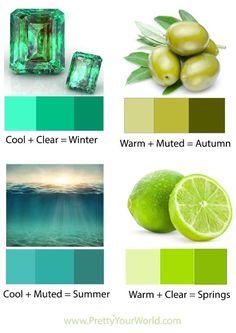 Deep Winter, Clear Winter, Deep Autumn, Warm Autumn, Warm Spring, Light Spring, Soft Summer, Winter Colors, Summer Colors