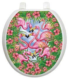 Themes Flamingos Fancy Toilet Seat Decal