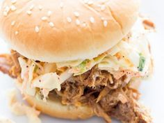 Slow Cooker Pulled Pork Sandwiches- This flavorful pulled pork is perfect for sandwiches or tortillas. Made with Musselman's Apple Butter & Cider Vinegar. Slow Cooked Meals, Crock Pot Slow Cooker, Crock Pot Cooking, Slow Cooker Recipes, Crockpot Recipes, Cooking Recipes, Pork Ham, Bbq Pork, Pulled Pork