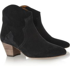 Isabel Marant The Dicker suede ankle boots (1,660 ILS) ❤ liked on Polyvore featuring shoes, boots, ankle booties, isabel marant, botas, heels, black, mid heel, black suede bootie and black boots