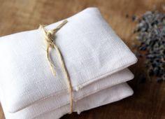 natural linens - lavender sachet:  lavender + white linen bag + muslin insert
