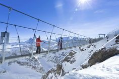 Titlis Cliff Walk, Engelberg, Switzerland  This nerve-racking pedestrian walkway is built 10,000 feet above sea level in the Swiss Alps, making it the highest suspension bridge in Europe. It is 320 feet long and only 3 feet wide.