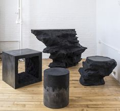 Brooklyn-based AMMA Studio's end tables and tables made of rock crystals, silica, cement, and coffee grounds (not a typo) are works of art