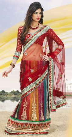 $80.63 Multi Color Net Embroidery Lehenga  Choli 24116