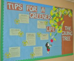 Sustainability Bulletin Board.  The Giving Tree inspirted board, with tips for a greener life!