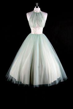 vintage 50s bridal halter   ... 50s Blue Tulle Halter Wedding Cocktail Bridal Prom Dress Bolero XS/S