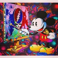 Mickey Mouse paints Grateful Dead Steal Your Face
