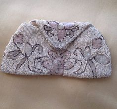 Vintage purse gift for her evening purse 1930's beaded purse 1940s evening bag pink flowers white beaded bag Gatsby beaded clutch deco purse
