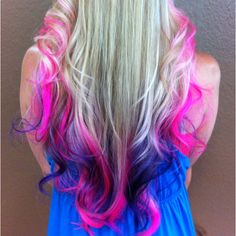 Barbie Ombré Pink & Blue Dip Dye Hair