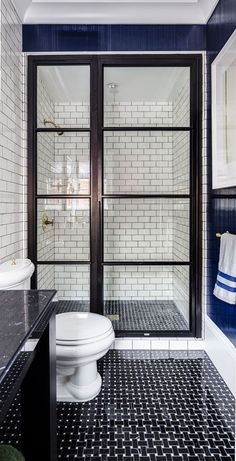 White subway tiles in navy and white bathroom. This is my dream bathroom renovation. House Bathroom, Bathroom Inspiration, Bathroom Interior, Small Bathroom, Bathrooms Remodel, Bathroom Decor, Interior, Shower Doors, Bathroom Design