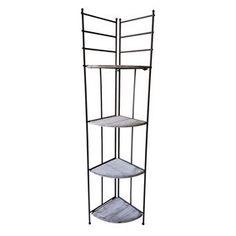 Picture of 4 Wood Shelf Metal Corner Rack