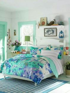 Top Girls Bedroom Ideas Blue With Teenage Girl Bedroom Blue Flower Themes Part 63