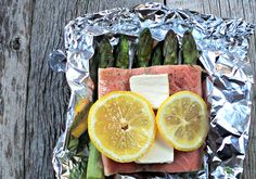 30-minute, all-in-one, healthy supper with zero cleanup -- yes!! Foil Baked Salmon with Asparagus (sub olive oil for the butter).