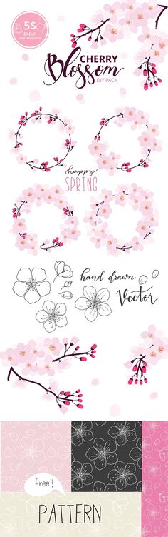 Set II -Cherry Blossom hand drawn by beerjunk on @creativemarket