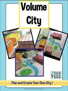 volume city: the city will have a school, shopping mall, apartment complex, police department, and fire department. each model building will be built using a centimeter grid. Teaching Geometry, Teaching Math, Maths, Math Resources, Math Activities, Math College, Area And Perimeter, Fifth Grade Math, Math Measurement