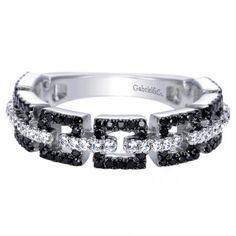 14K White Gold Stackables Ladies' Ring, Black and White Diamond .63ct, 5.2mm wide -Gabriel LR6370W45BD