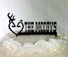 Doe and Buck Wedding Cake Topper #idea:change and put groom and bride names on each side of the browning logo