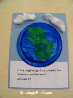 "Craft for Genesis 1:1 ""In the beginning God created the heavens and the earth."" Day 1 Light, Day 2 Sky, Day 3 land & plants, Day 4 sun & moon & stars, Day 5 sea creatures & birds, Day 6 land animals & man, Day 7 rested"
