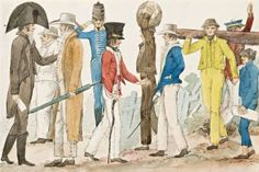 The Costumes of the Australasians by EdwardCharlesClose. Here, Close shows convicts, their gaolers, and free settlers, all living and working together in Australia. IMAGE CREDIT: EdwardCharlesClose/State Library of NSW Australia Migration, Primary History, Van Diemen's Land, Digital History, First Fleet, Penal Colony, Life Sketch, Aboriginal Art, Australian Artists
