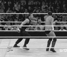 CM Punk's kick to Dean Ambrose [Gif]