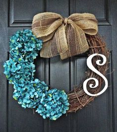 monogram wreath   Life with Elizabeth: DIY: Monogram Hydrangea Wreath