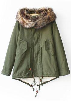 Love this color! Light Green Belt Cashmere Lining Cotton Parka Coat