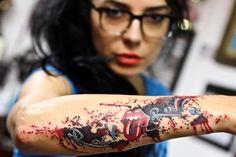 Tattoo - Music tattoo 11, arm tattoos, rock music tattoo, rolling stones, glass, rock n roll tattoo