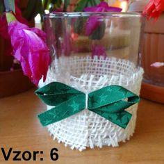 Svietnik sklenený s mašľou - Sviečka - Bez sviečky, Vzor - Vzor 6