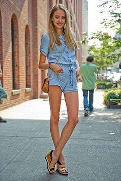 Street Style Volumen 2: Nueva York. Las modelos también sucumben a la comodidad de los shorts, incluso en versión mini mono.