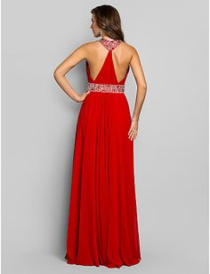 Sheath/Column V-neck Floor-length Chiffon Evening/Prom Dress (590992) – USD $ 79.99