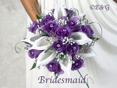 Ideas For Bridal Bouquet Calla Lillies And Roses Babies Breath Purple Wedding Bouquets, Bridal Flowers, Flower Bouquet Wedding, Silk Flowers, Wedding Colors, Bridal Bouquets, Flower Bouquets, Bridesmaid Bouquets, Wedding Ideas