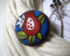 Felt brooch Needle felt brooch with embroidery Wool felt